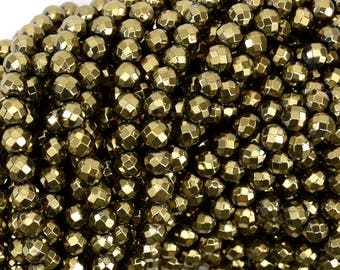 "6mm faceted pyrite hematite round beads 15.5"" strand 38950"