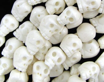 "16mm white bone carved skull beads 7.5"" strand 12pcs 16110"