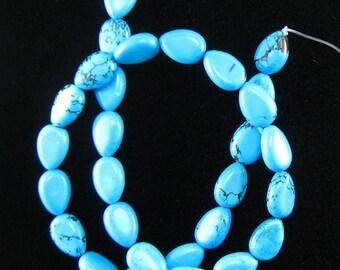 "13mm blue turquoise flat teardrop beads 16"" strand L/D 15812"