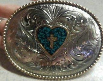 Trophy Belt Buckle Texas Inlaid Turquoise color Hand Engraved Nickel Silver