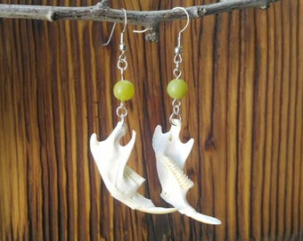 Muskrat Jaw Bone Earrings, Fish Hook, New Jade Bead, Vulture Culture, Taxidermy Jewelry, Animal Bone, Burning Man, Oddities & Curiosities