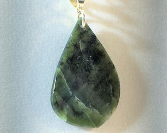 Jade Pendant Necklace - Sterling Silver Bail- Free Form - All Natural -     P040