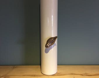 Tall White Vase with Gold Bird Detail on the Bottom/Side-on