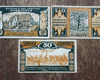 Lot of  3 Germany 50 pfennig Notgeld Banknote Gemeinde Husbyholz 1921