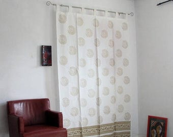 ON SALE Hand block printed cotton tab top curtains,loop curtains,boho ,bohemian print, mustard,gold.