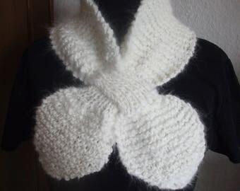 Warm soft soft Angoraschal in white