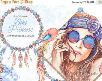 SALE 50% OFF Boho Style Fashion Clip Art, Watercolor Clip Art, Dreamcatcher, Feather, Turquoise, Bracelet, Boho Princess, Woman Fashion Illu