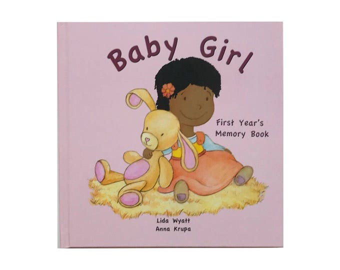 Baby Girl  First Year's Memory Book - Black Hair/Dark Skin
