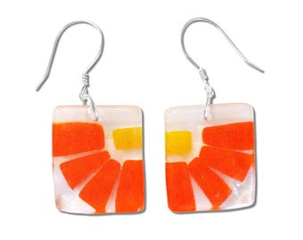 Fused Glass Flower Square Earrings. Fun, Unique and Cute earrings, Beautiful Red or Orange Colorful Earrings