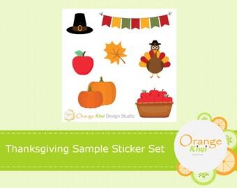 Thanksgiving Sample Stickers, Fall Autumn Sticker Set, Turkey Sample Set