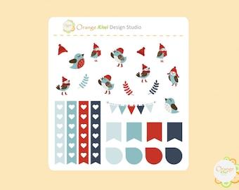 Winter Birds Planner Stickers, Winter Birds Sample Stickers, Erin Condren Life Planner, Happy Planner, Filofax