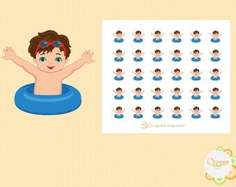 Guy Swim Stickers, Swim Lesson Stickers, Pool Party Stickers, Summer Swim Stickers, Erin Condren Life Planner