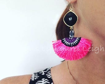 BLACK, WHITE and PINK Statement Earrings | fringe, multicolored, multicolor, boho, dangle, lightweight, gold, hot pink, black and white