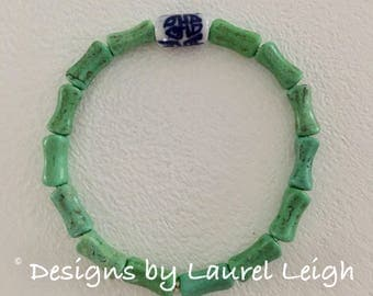 GREEN Chinoiserie Bamboo Beaded Bracelet | blue and white, stretchy, Designs by Laurel Leigh