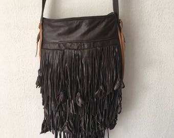Real handmade crossbody bag from soft leather with elements of fashionable leather fringe new women's chocolate&brown color bag size-small.