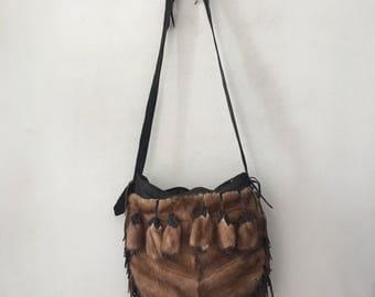 Handmade bag, brown real fur leather shoulder bag handmade.