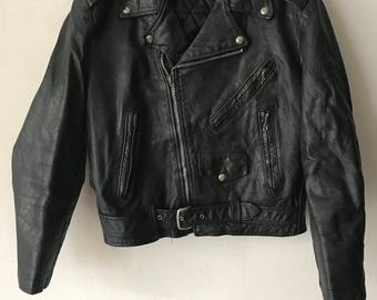 Motorcycle jacket from real leather genuine and soft leather short vintage jacket heavy jacket old jacket men's black has size-small (42EU).