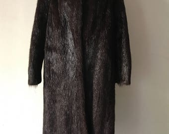 Nutria fur coat, heavy dark brown man coat size medium .