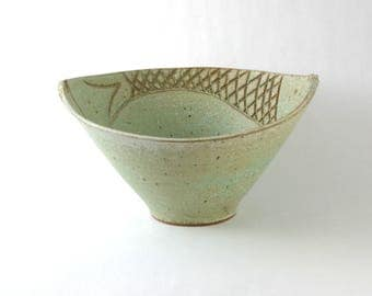 Handmade Ceramic Fish Bowl, Pottery Bowl with carved Fish, Pale Green