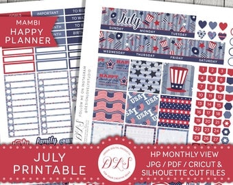 July Monthly Planner Kit, July Happy Planner Stickers, July Monthly Stickers, Fourth of July Stickers Kit, Mambi July Planner Kit, HPMV127