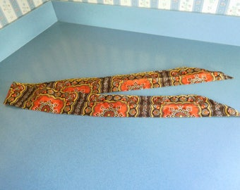 Vintage 1980's Retro Cloth Belt, Headscarf, or Neck Scarf in Fall Colors