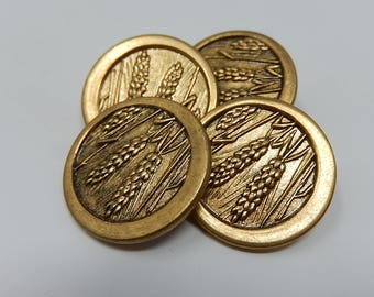 Four iron buttons, wheat ears, diameter: 2.1cm, Free Shipping!