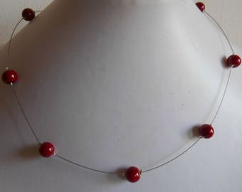 Simple wedding necklace Burgundy beads