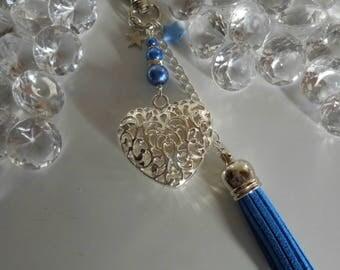 "Bag charm / key ""Proof of love"" dark blue"