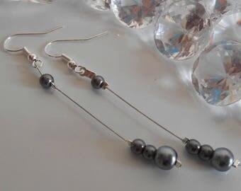 Pearl dangle wedding earrings Pearl grey anthracite