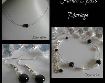Set of 3 wedding pieces black and white beads