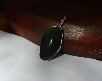 * OPTION pendant * cabochon mounting carrying Obsidian or other chosen on our shop to wear as a pendant
