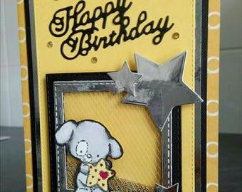 Happy birthday shaker in shades of yellow card