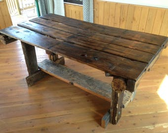 Rustic Dining Table Etsy - Reclaimed wood dining table
