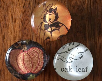 Fall/Halloween Set of three glass marble magnets