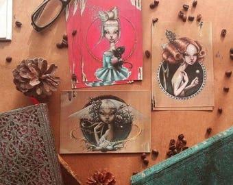 Pack of 3 mini art print, made by Aintzane crosshead