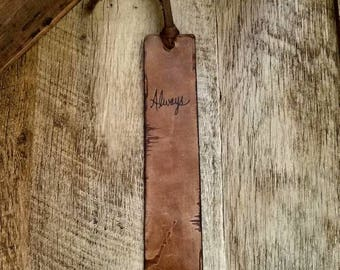 Buy More & Save 3/65.00 Custom Leather Bookmark Personalized Leather Anniversary Gift Christian Gifts
