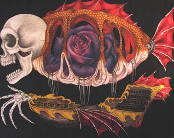 The Airship of a Madman - Original Mixed Media Drawing