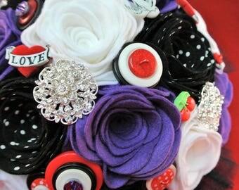 Custom Made Tattoo Inspired/Rockabilly Felt, Button and Brooch Bouquet, Alternative Wedding, Felt Flowers, 50s Wedding Bouquet