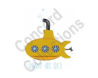 Yellow Submarine - Machine Embroidery Design, Submarine