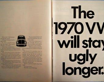1970 VW Bug ad.  1970 Volkswagen Beetle ad.  Vintage VW Bug ad.  VW Bug.  Volkswagen ad.  2 pages. Black and white.