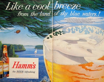 Hamm's Beer ad.  1957 Hamm's Beer ad.  Hamm's Beer.  2 page full color ad.  Vintage Hamm's Beer ad.  Life Magazine.  August 26, 1957.