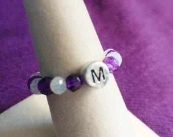 "Handmade Stretch RING Purple & Iridescent Beads + Initial ""M"""