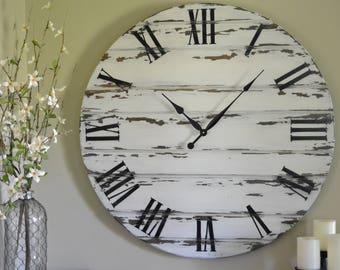 "36"" Large Distressed Wall Clock, Painted Clock, Wood Clock, Oversized Clock"