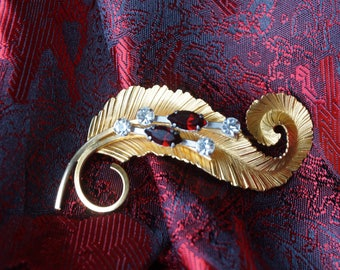 Beautiful Gold Toned over sterling silver Leaf with 2 Ruby and 4 clear White  Rhinestones BOND BOYD Brooch