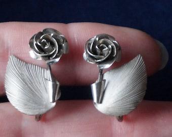 Vintage BOND BOYD Sterling Rose Earrings, Screwbacks