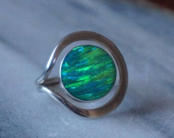 Electric, flash, Green Opal Silver 925 ring