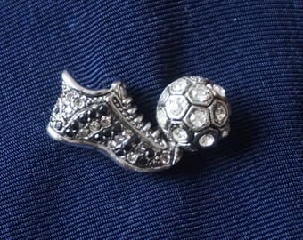 Stunning Brooch pin Soccer shoe and ball with black and clear rhinestones