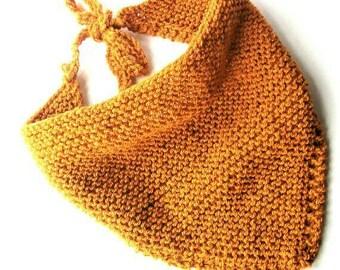 Dreadlock bandana yellow bandana yellow scarves hand knit bandana dreadlock head wrap bandana for curly hair vegan head scarf bandana