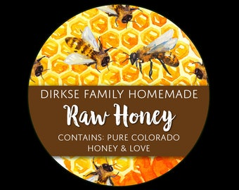 Honey Labels - Honeycomb and Bees - Watercolor Style - Raw Honey - Homegrown Honey - All Text Can be Customized