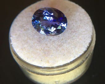 NATURAL Blue Violet Tanzanite Gem 4.59 FLAWLESS Certified Oval Cut BLOCK d